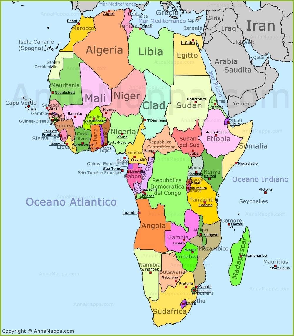 Cartina Africa In Italiano.Mappa Africa Cartina Africa Annamappa Com