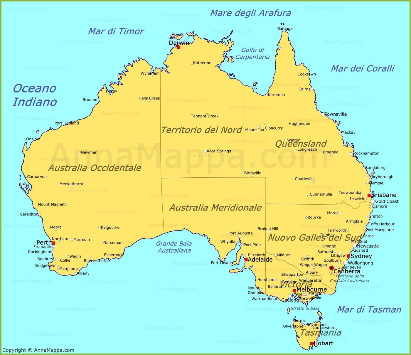 Cartina Australia Politica.Mappa Australia Cartina Australia Annamappa Com