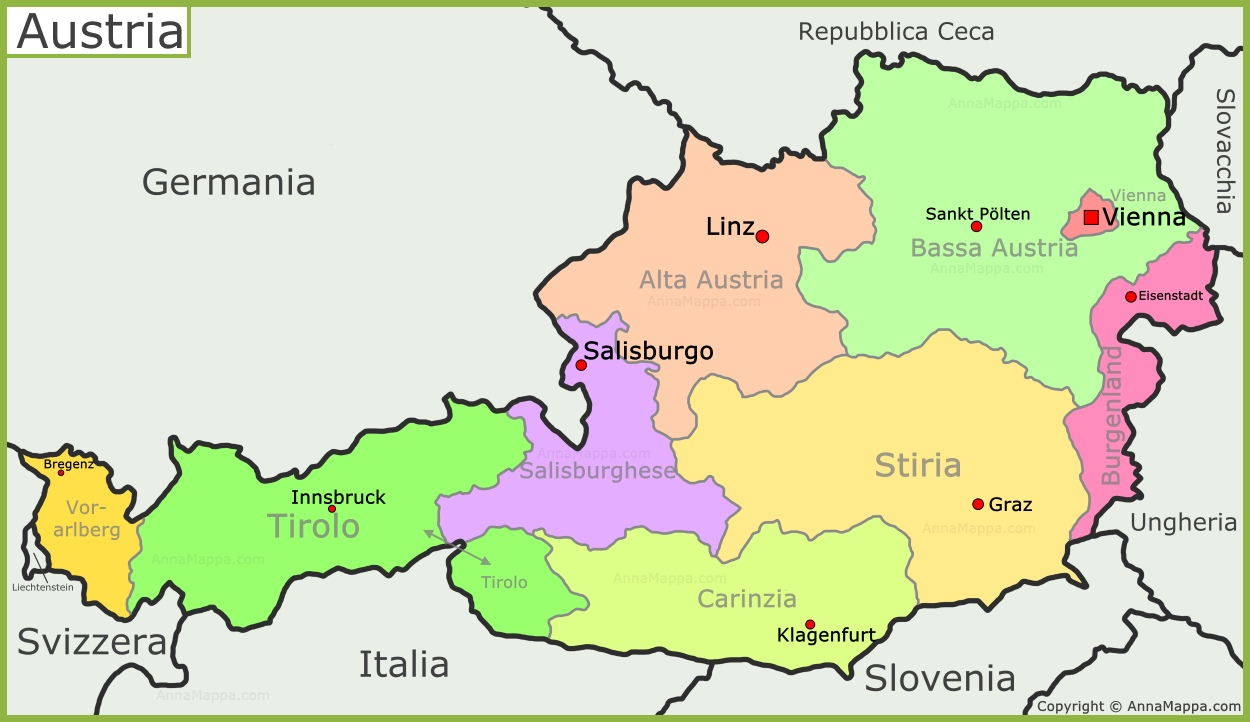 Cartina Stradale Austria.Mappa Politica Dell Austria Annamappa Com