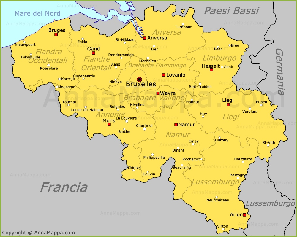 Cartina Del Belgio In Italiano.Mappa Belgio Cartina Belgio Annamappa Com
