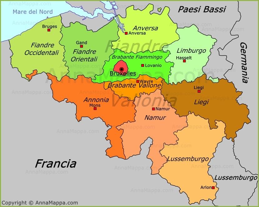 Cartina Del Belgio Da Stampare.Mappa Politica Del Belgio Annamappa Com