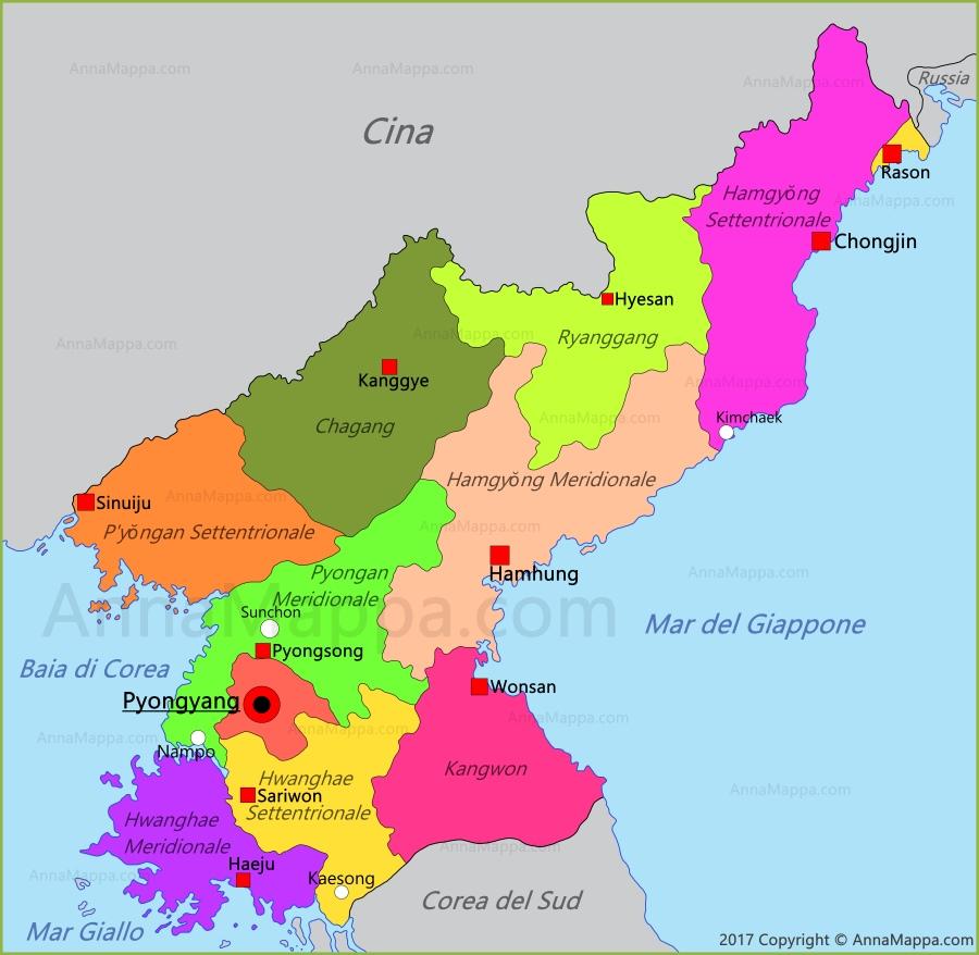 Cartina Mondo Corea.Mappa Corea Del Nord Annamappa Com