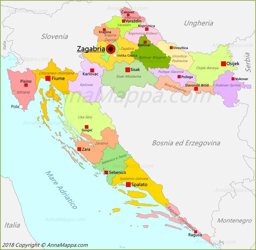 Italia Croazia Cartina.Mappa Croazia Annamappa Com