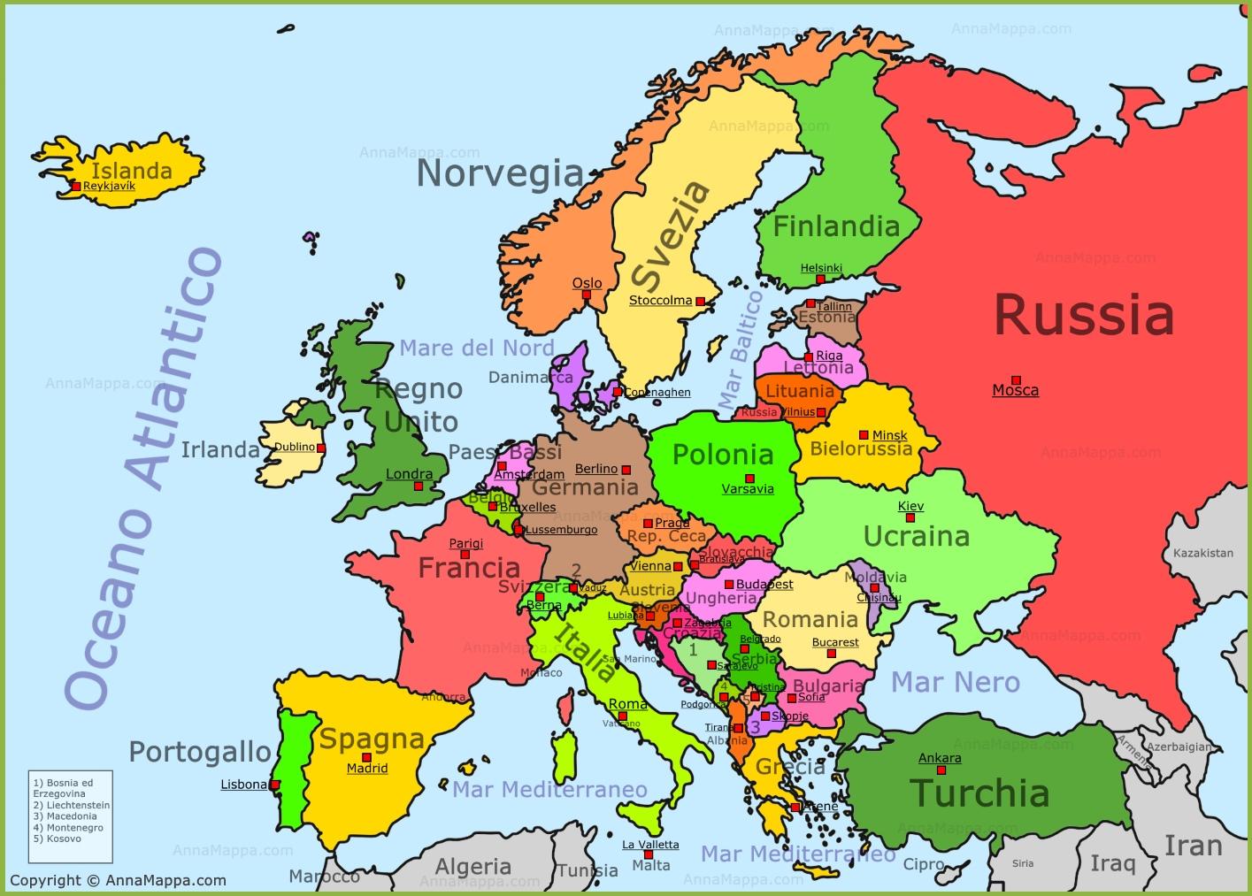 La Cartina Europa.Mappa Europa Cartina Europa Annamappa Com