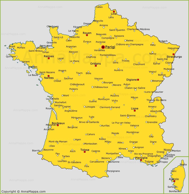 Immagini Della Cartina Della Francia.Le Citta Della Francia Sulla Mappa La Mappa Delle Citta Francesi
