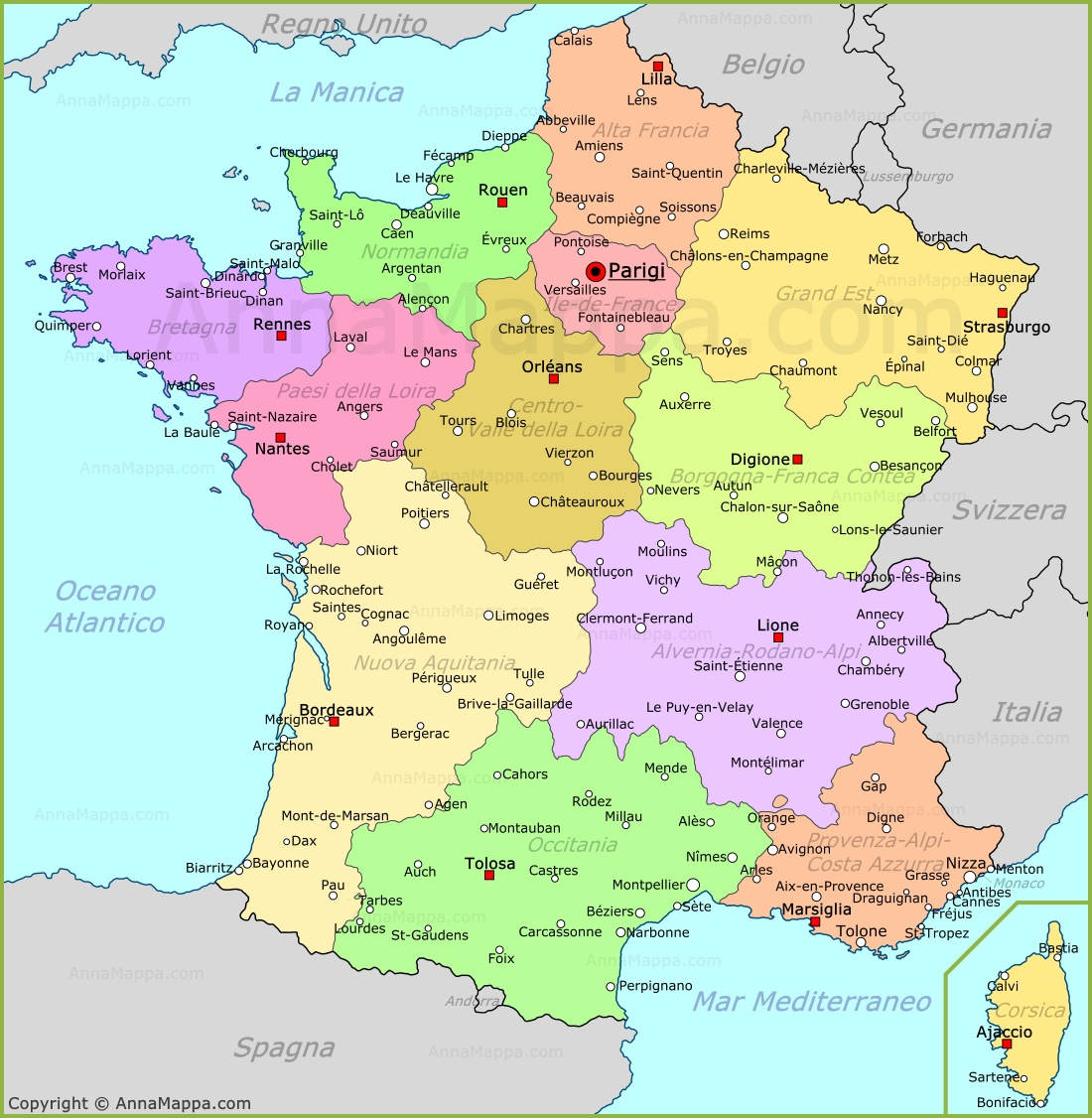 Cartina Stradale Costa Azzurra.Mappa Francia Cartina Francia Annamappa Com