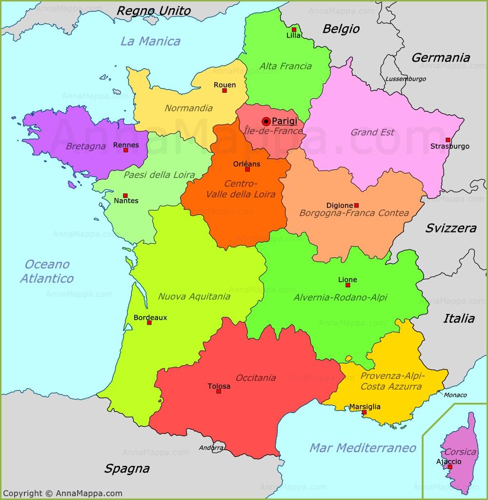 Cartina Politica Francia Con Regioni E Capoluoghi.Mappa Politica Della Francia Annamappa Com