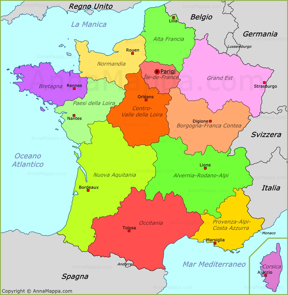 Nantes Cartina Francia.Mappa Francia Cartina Francia Annamappa Com