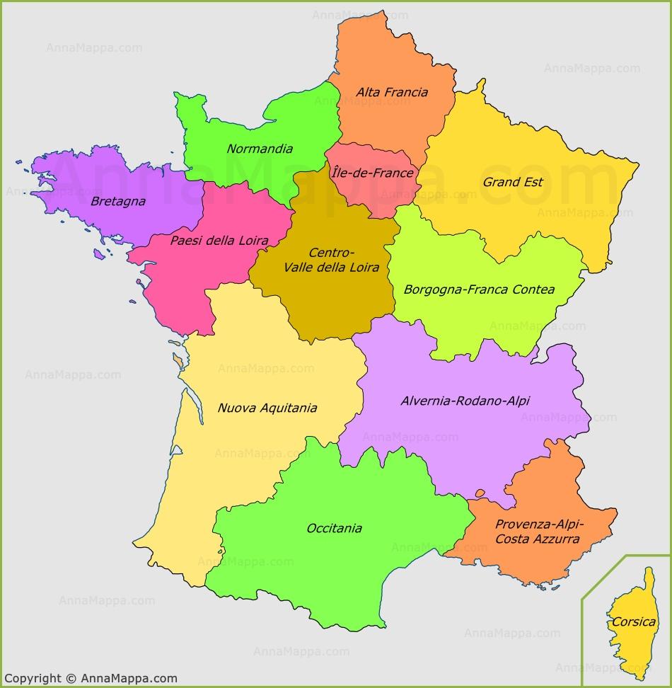 Cartina Politica Francia Con Regioni E Capoluoghi.Mappa Degli Regioni Della Francia Regioni Della Francia Annamappa Com