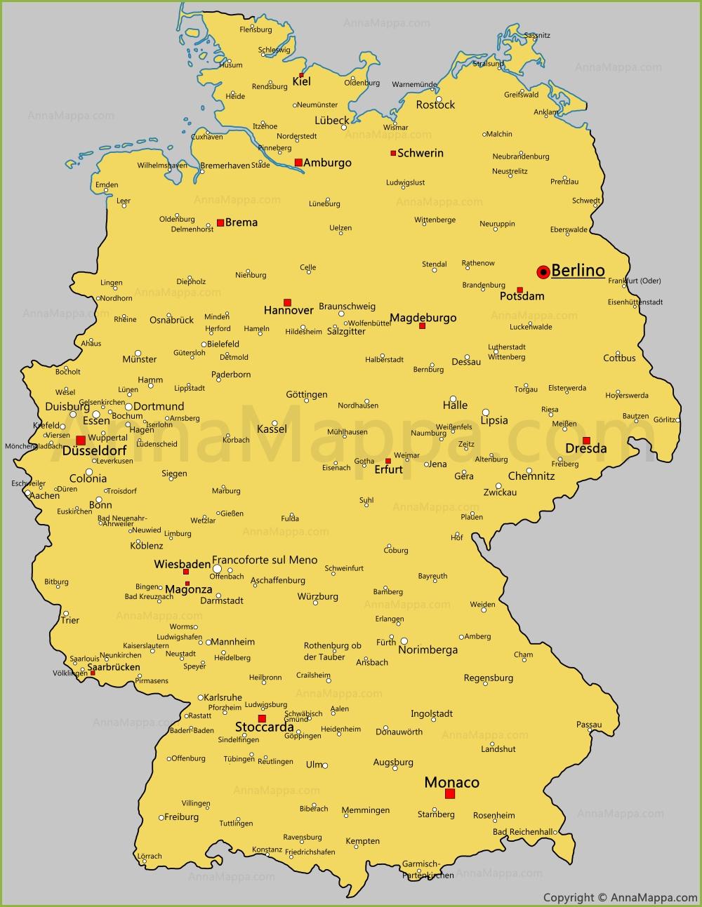Cartina Germania Stoccarda.Le Citta Della Germania Sulla Mappa Annamappa Com