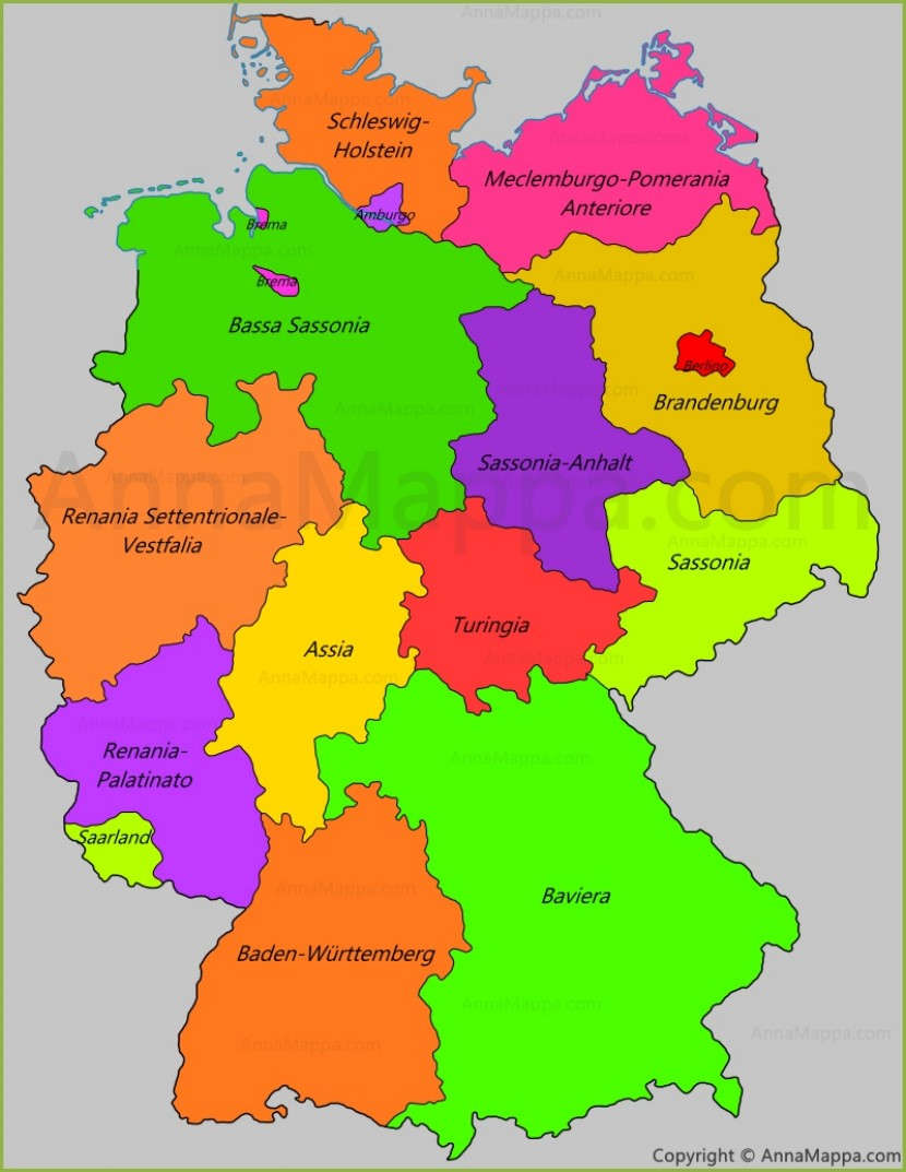 Cartina Della Germania In Tedesco.Mappa Germania Cartina Germania Annamappa Com