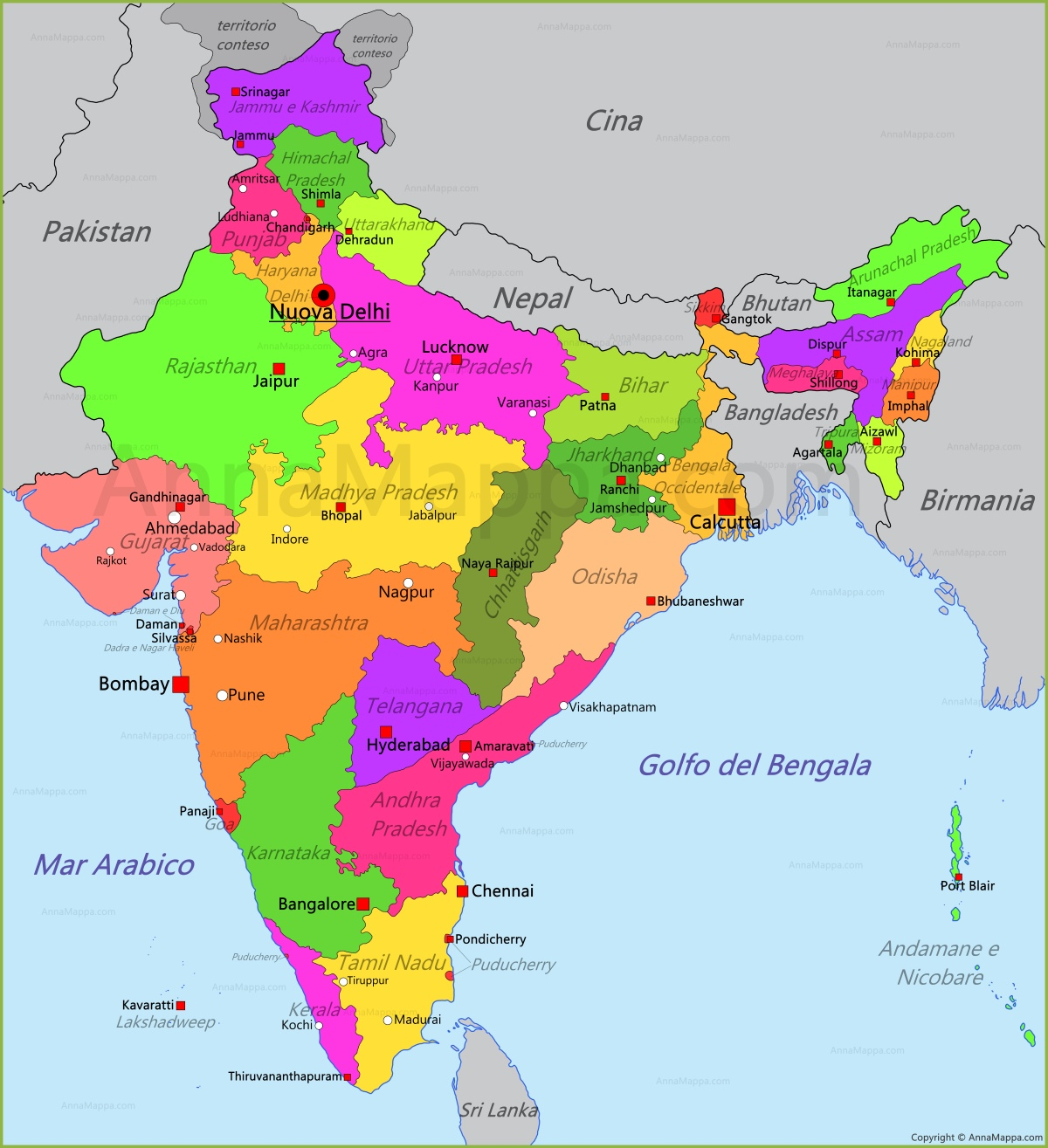 Cartina India In Italiano.Mappa India Annamappa Com