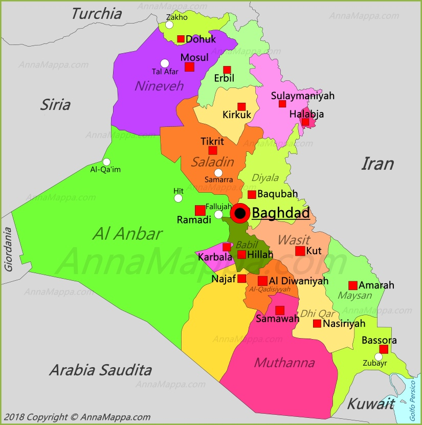 Cartina Iraq.Mappa Iraq Annamappa Com
