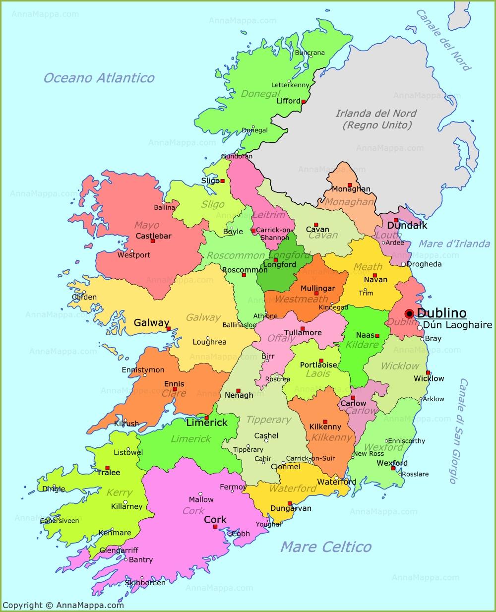 Cartina D Irlanda.Mappa Irlanda Cartina Irlanda Annamappa Com