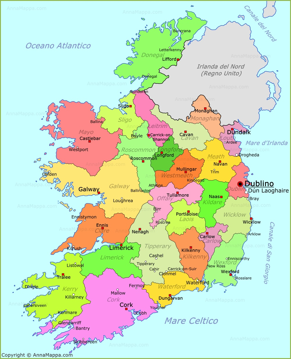 Cartina Geografica Irlanda Del Sud.Mappa Irlanda Cartina Irlanda Annamappa Com