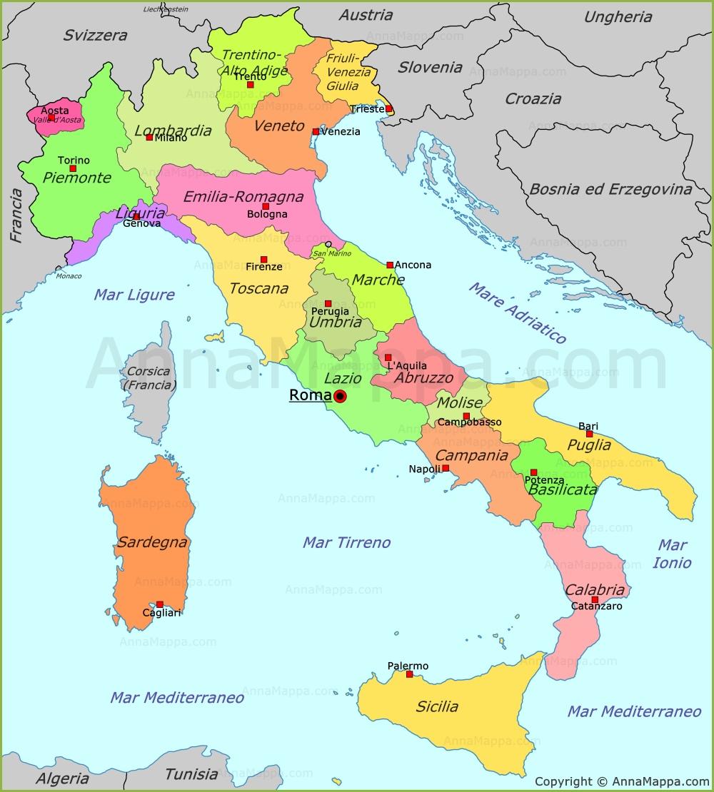 Cartina Politica Sud Italia.Mappa Politica Dell Italia Annamappa Com
