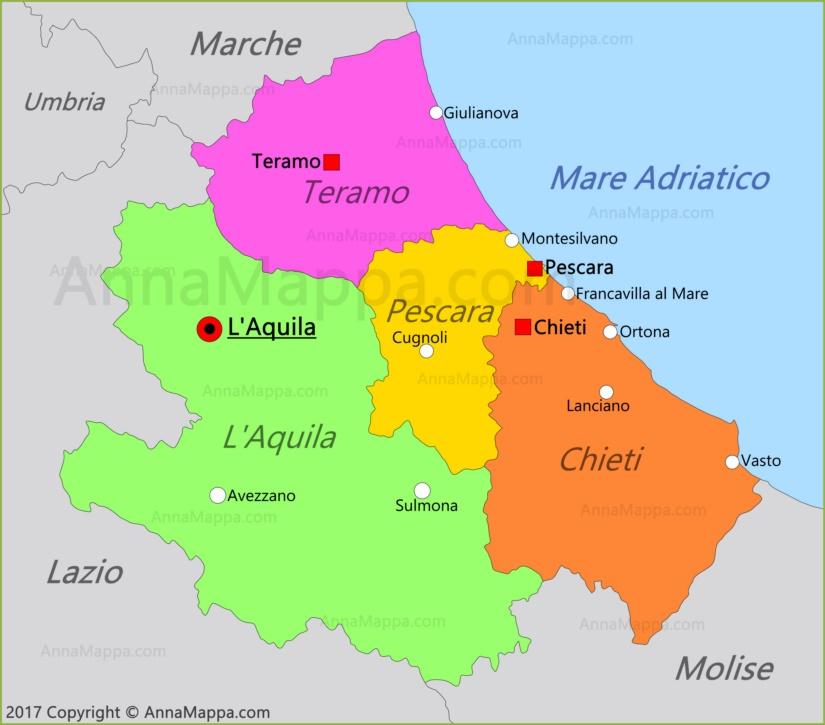 Cartina Abruzzo Umbria.Mappa Abruzzo Italia Annamappa Com