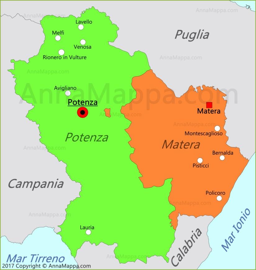 Cartina Basilicata.Mappa Basilicata Italia Annamappa Com