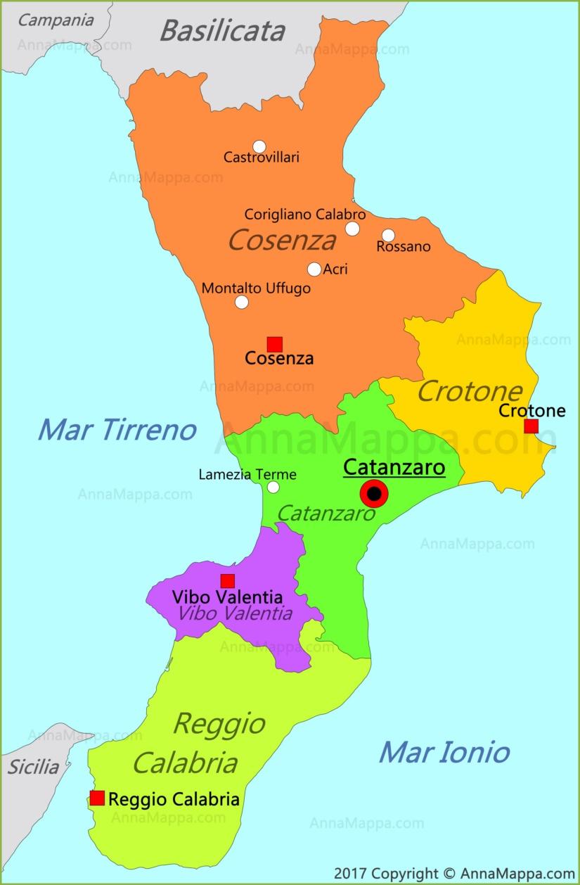 Cartina Calabria Catanzaro.Mappa Calabria Italia Annamappa Com