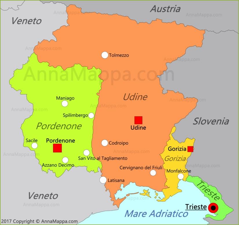 Cartina Friuli Venezia Giulia Province.Mappa Friuli Venezia Giulia Italia Annamappa Com
