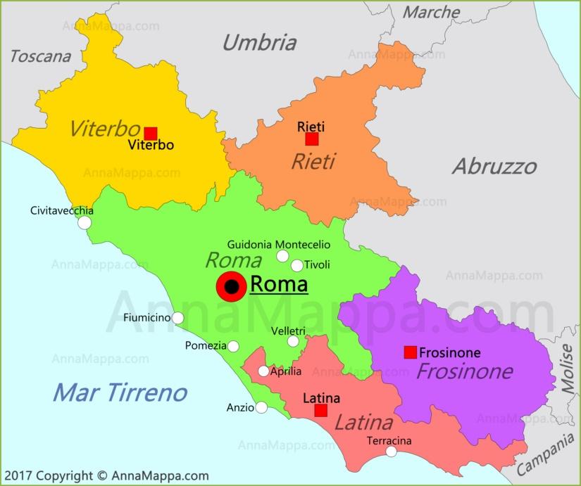 Cartina Lazio.Mappa Lazio Italia Annamappa Com