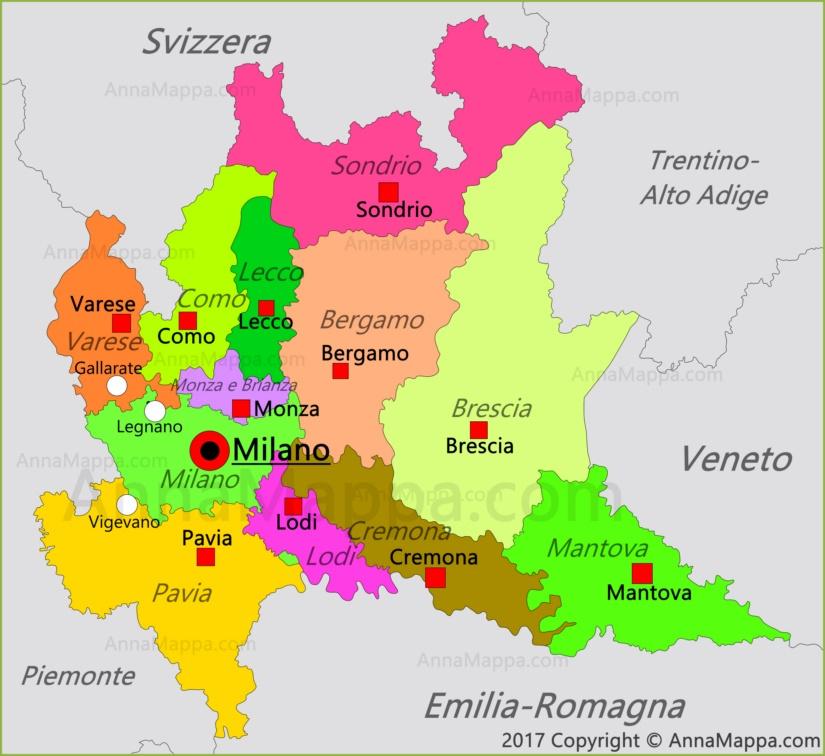 Cartina Emilia Romagna E Lombardia.Mappa Lombardia Italia Annamappa Com