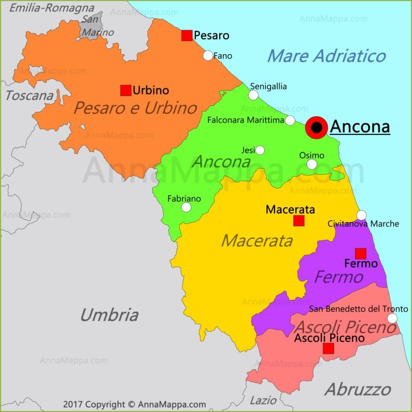 Cartina Emilia Marche.Mappa Marche Italia Annamappa Com