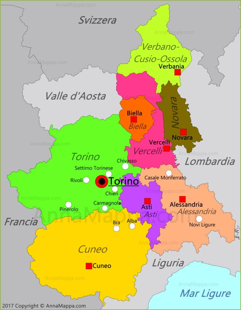 Cartina Dettagliata Piemonte.Mappa Piemonte Italia Annamappa Com