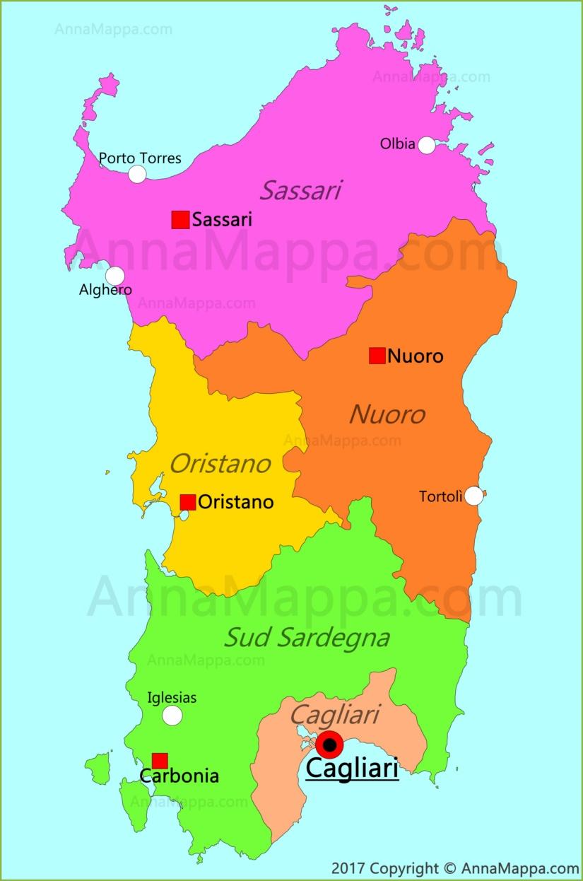 Cartina Sardegna Province.Mappa Sardegna Italia Annamappa Com