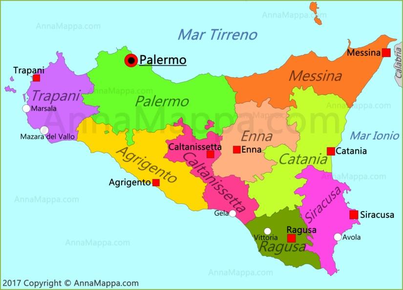 Cartina Sicilia Enna.Mappa Sicilia Italia Annamappa Com