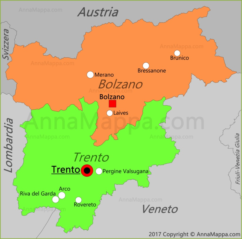 Province Trentino Alto Adige Cartina.Mappa Trentino Alto Adige Italia Annamappa Com