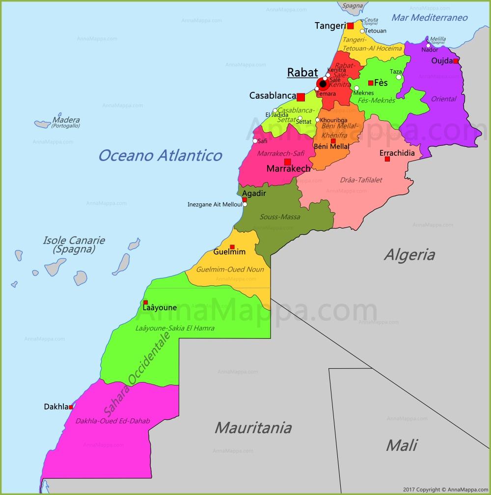 Cartina Marocco.Mappa Marocco Annamappa Com