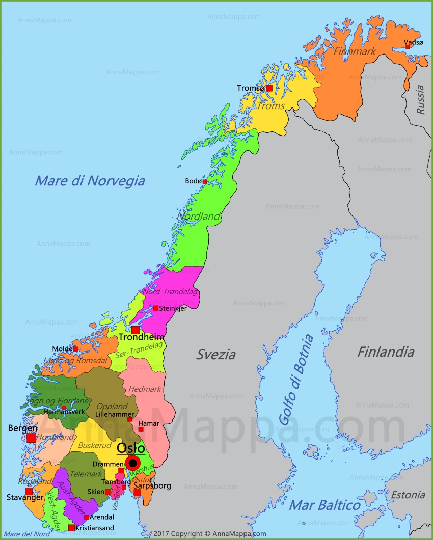 La Norvegia Cartina.Mappa Norvegia Annamappa Com