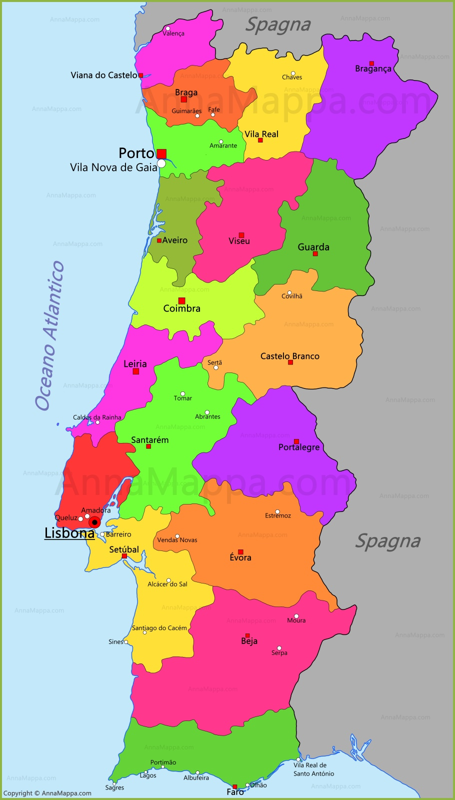 Portogallo Cartina.Mappa Portogallo Annamappa Com
