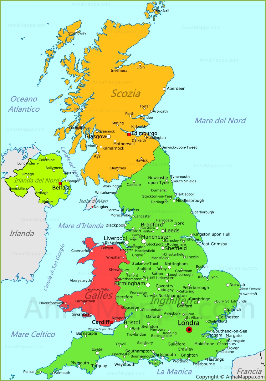 Cartina Politica Regno Unito In Italiano.Mappa Regno Unito Cartina Regno Unito Annamappa Com