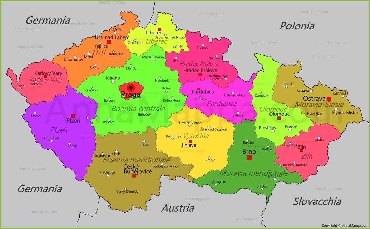 Repubblica Ceca Cartina Europa.Mappa Repubblica Ceca Annamappa Com