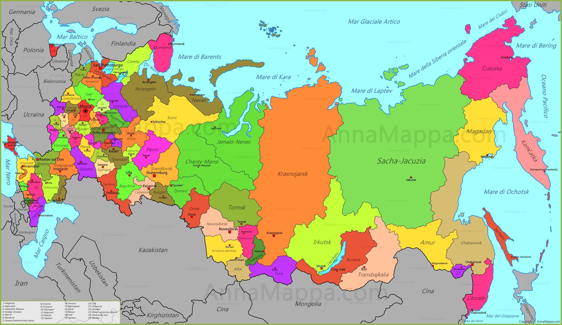 La Cartina Della Russia.Mappa Russia Annamappa Com