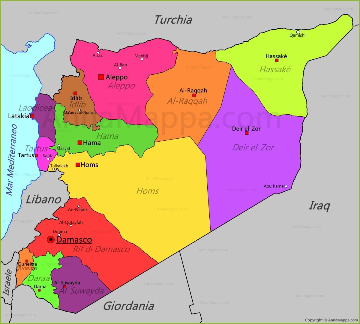 Cartina Mondo Siria.Mappa Siria Annamappa Com