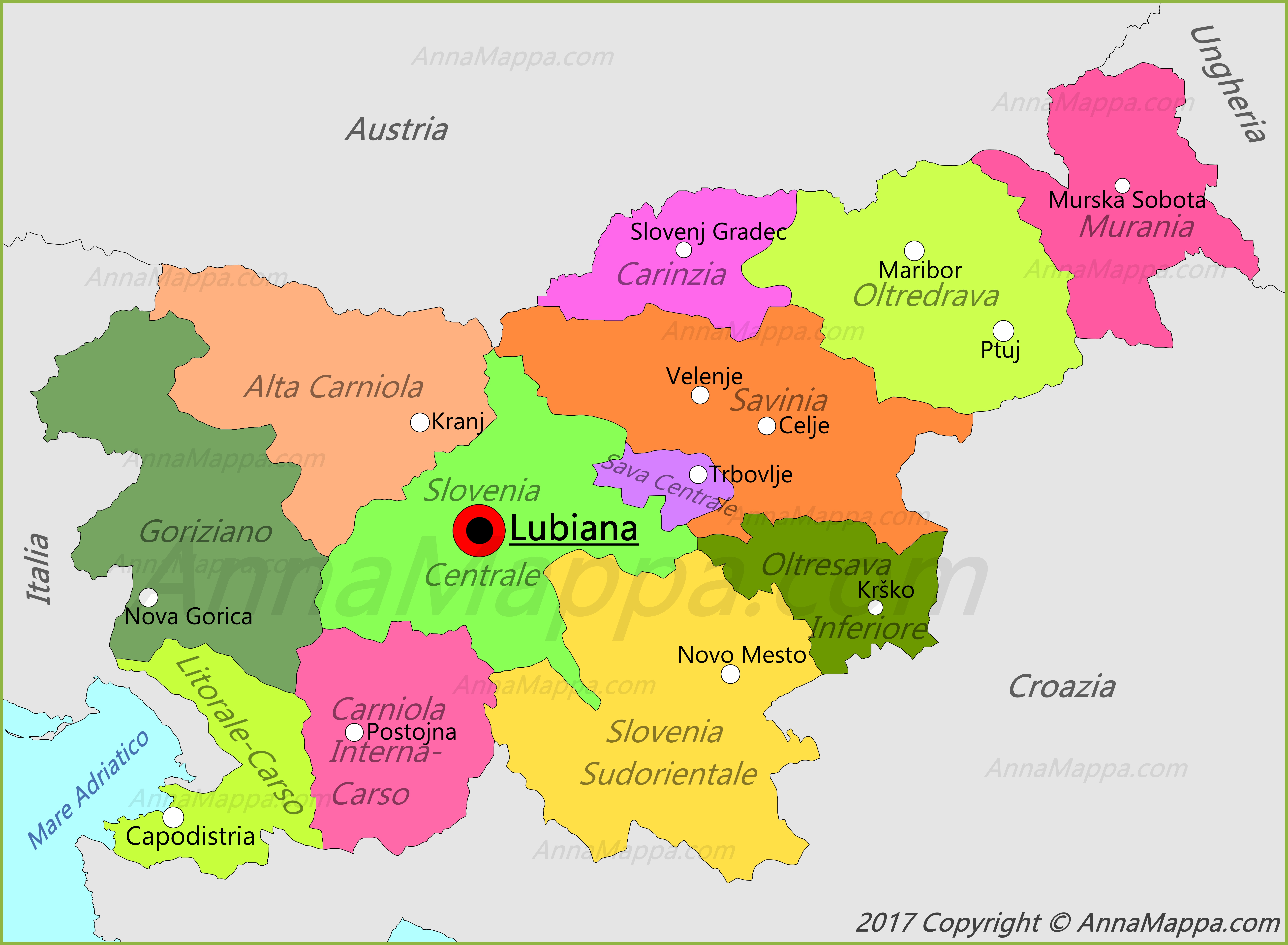 Cartina Turistica Slovenia.Mappa Slovenia Annamappa Com