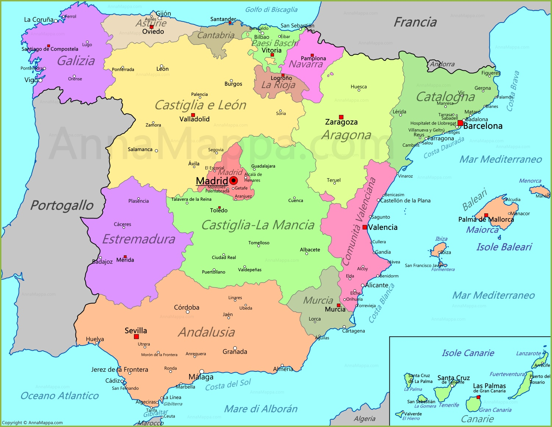 Spagna Andalusia Cartina.Mappa Spagna Annamappa Com