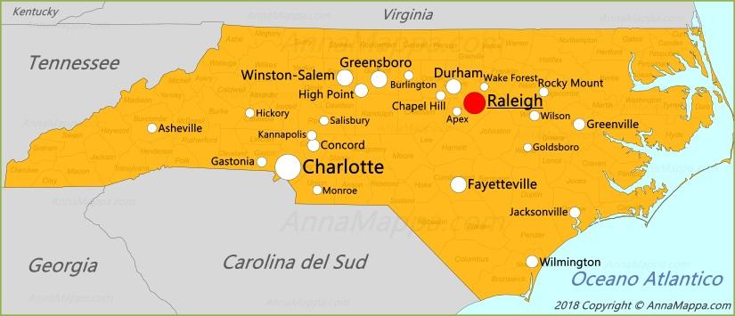 Cartina India Del Nord.Mappa Carolina Del Nord Stati Uniti Annamappa Com