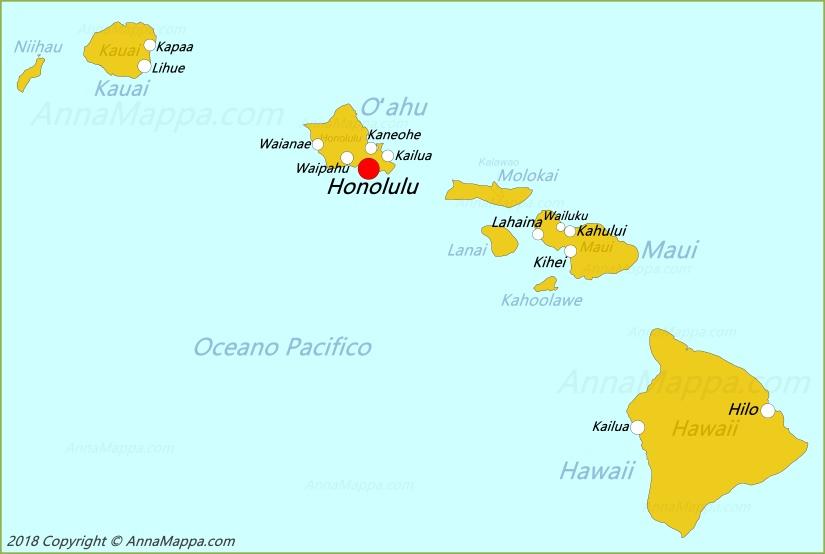 Cartina Mondo Hawaii.Mappa Hawaii Stati Uniti Annamappa Com