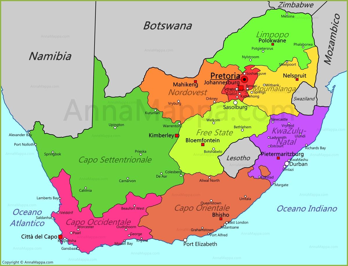 Cartina Africa Del Sud.Mappa Sudafrica Annamappa Com