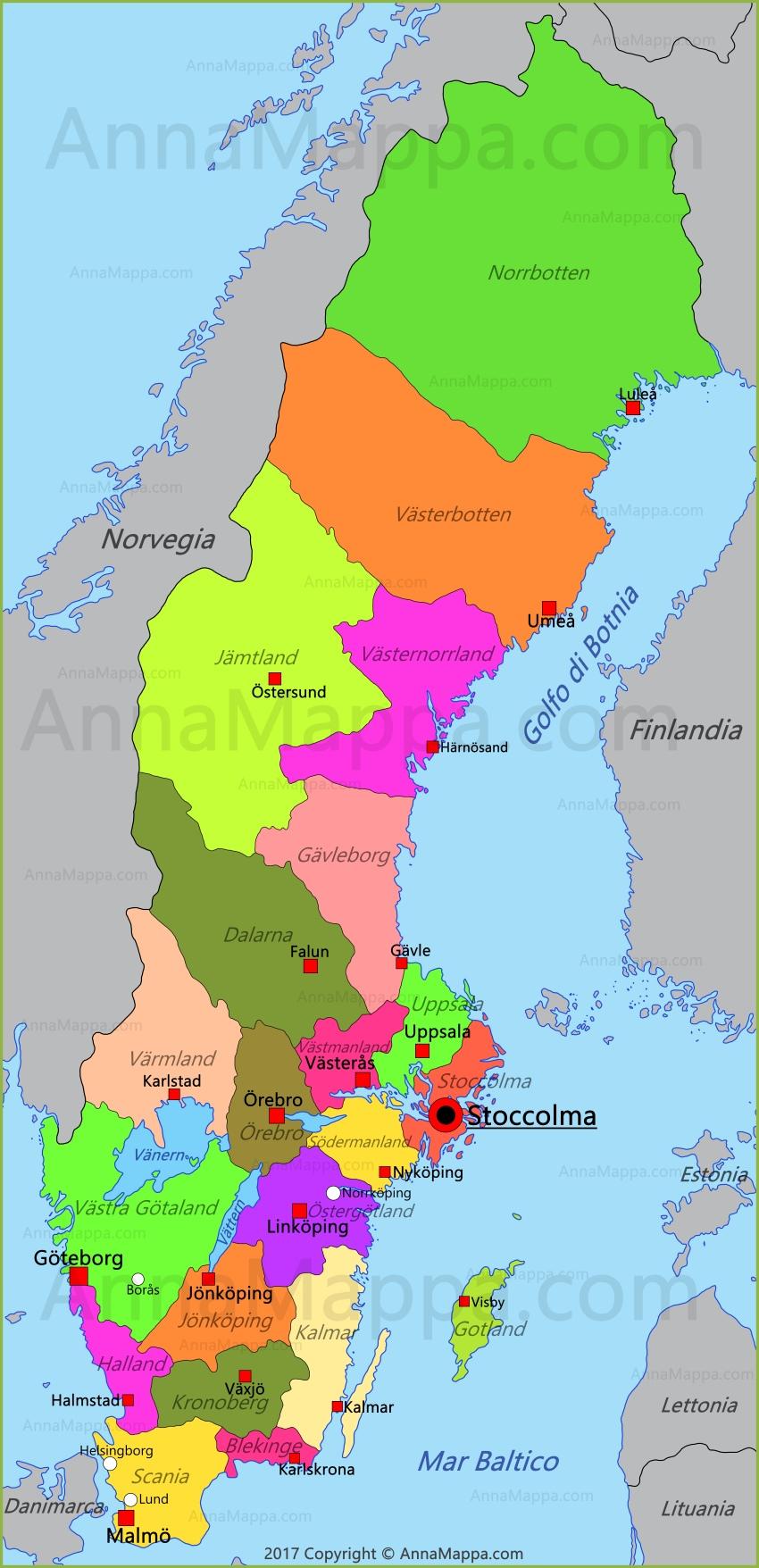 Cartina Della Svezia.Mappa Svezia Annamappa Com