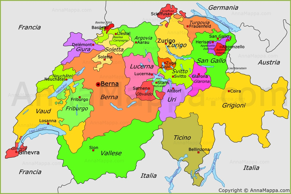 Svizzera Cartina.Mappa Politica Della Svizzera Mappa Degli Cantoni Della