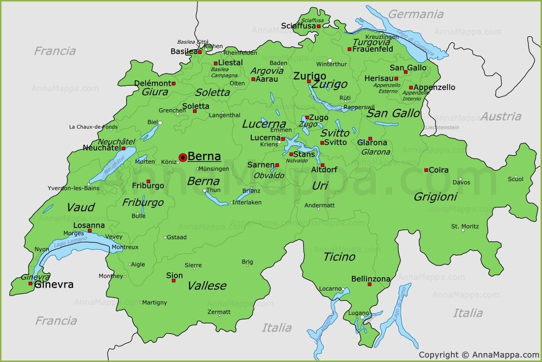 Cantoni Cartina Politica Svizzera.Mappa Svizzera Cartina Svizzera Annamappa Com
