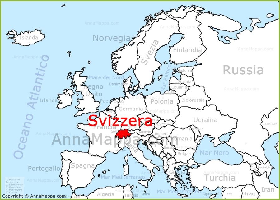 La Svizzera Cartina.Svizzera Sulla Mappa Dell Europa Annamappa Com