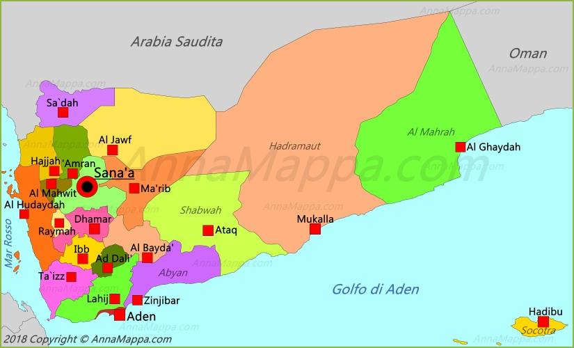 Cartina Yemen.Mappa Yemen Annamappa Com